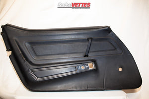 1970-1977 Corvette LH (Driver) Door Panel - Original - Black (Manual window)