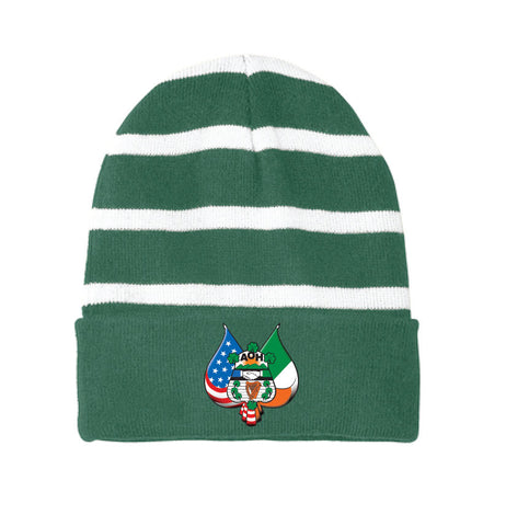 Embroidred Striped Beanie