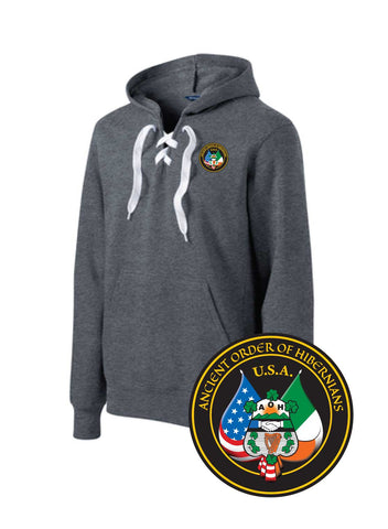 AOH Lace Up Pullover Hooded Sweatshirt