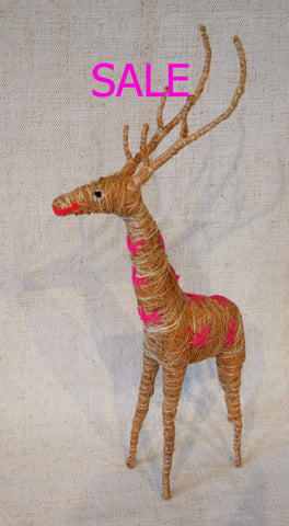 Roost Reindeer with Hot Pink Embroidery - Tall