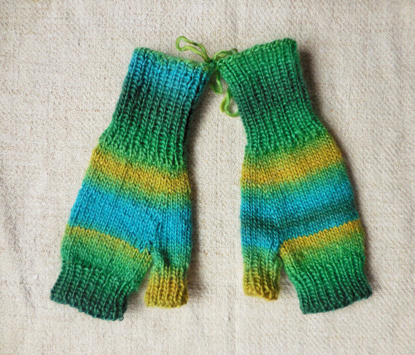 Hand Knitted Fingerless Gloves- One-of-a-kind