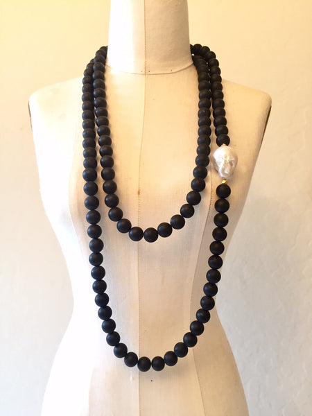 Peace A Porter Long Onyx and Large Baroque Pearl Necklace