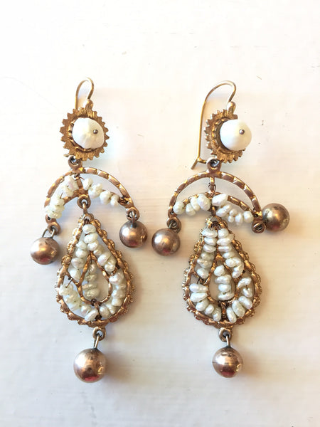 Antique Large 10K Gold and River Pearl Earrings