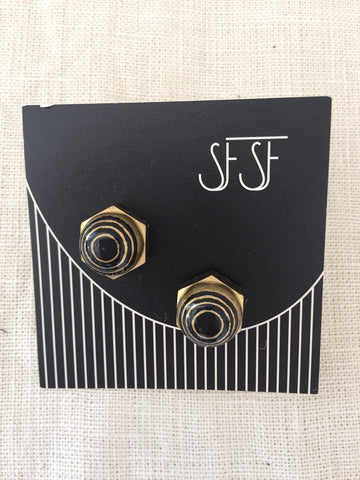 Stella Fluorescent Post Earrings - Black and Gold