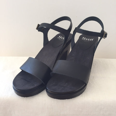 Sven High Heel Clog Sandals - Black - Size 40 Only
