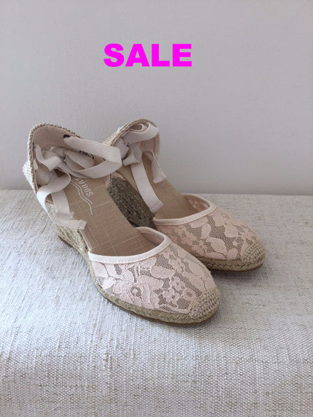 Soludos Chantilly Lace Tall Wedge Espadrilles - Blush