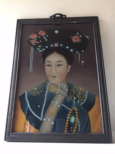 Antique Chinese Painting of a Young Woman with a Headdress