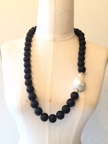 Peace A Porter Short Onyx and Large Baroque Pearl Necklace