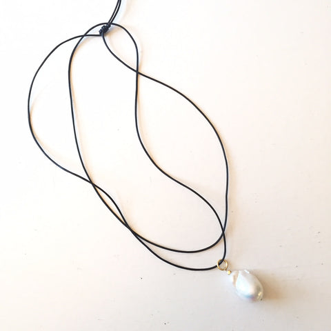 "Peace A Porter ""Panarea"" Necklace- White Large Baroque Pearl on Black Leather Cord"