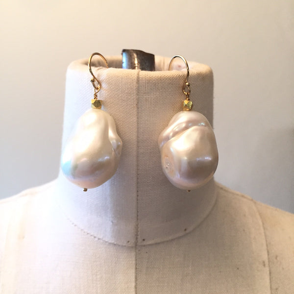 Peace A Porter White Large Baroque Freshwater Pearl Earrings - No. 4