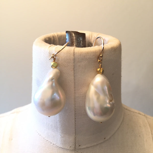 Peace A Porter White Large Baroque Freshwater Pearl Earrings