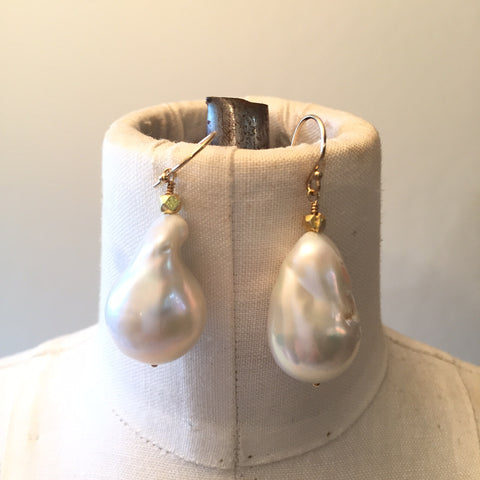 Peace A Porter White Large Baroque Freshwater Pearl Earrings - No.6