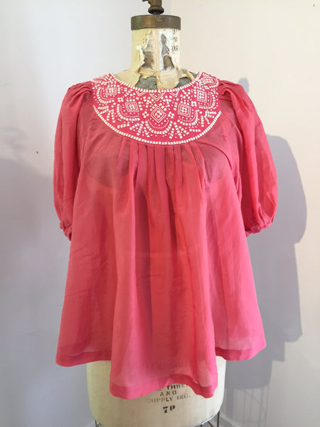 Costa. Japan Bond Puff Sleeve Top - Coral Pink