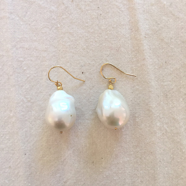 Peace A Porter White Large Baroque Freshwater Pearl Earrings - No.5