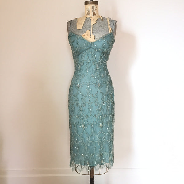 Collette Dinnigan Beaded Spaghetti Strap Dress - Seafoam - Small Only