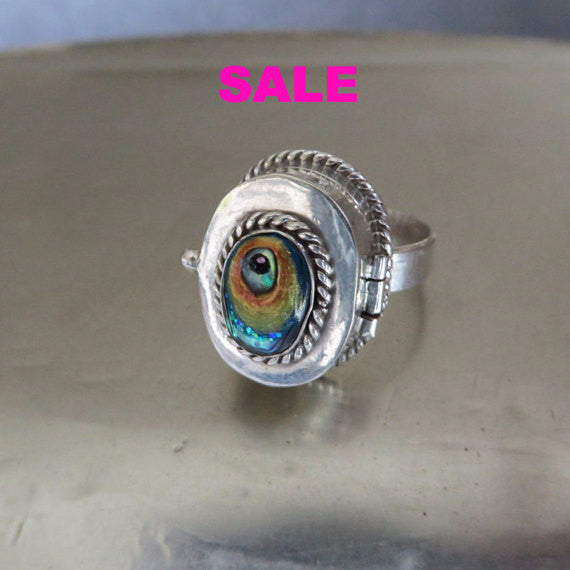 Alison Brown Vintage 925 Sterling Poison Ring with Hand Painted Fish Eye