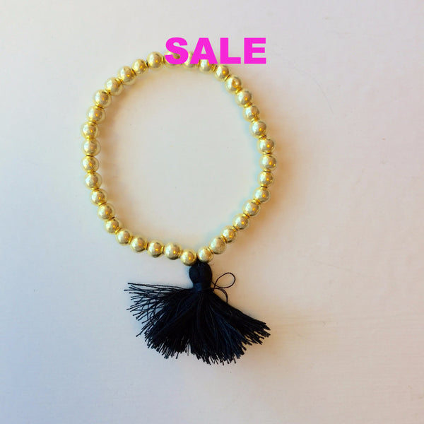 22K Gold Plated Bead Bracelet with Black Tassel - Small Bead