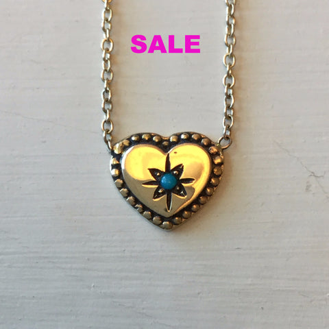 Workhorse Jewelry Heart with Turquoise Necklace