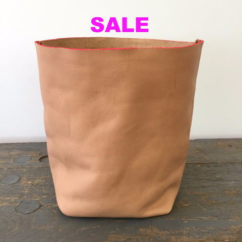 Alexandra Silverman Leather Bucket with Neon Pink Painted Trim - Small - Veg Tan