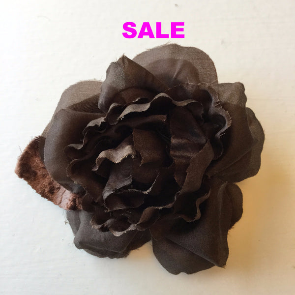 Handmade Silk Medium Rose Pin - Chocolate