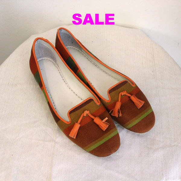 Pantofola D'Oro Striped Canvas Flats - Ocra - Size 36.5 Only
