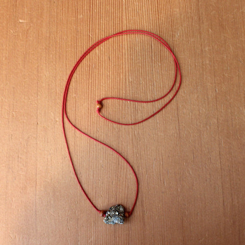 RAW Pyrite Necklace - Red