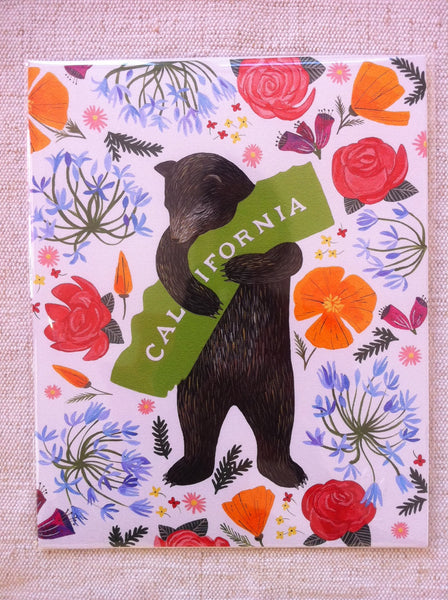 """California"" Multi Color with White Background Botany Print by Annie Galvin"