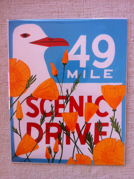 """49 Mile Scenic Drive Poppy"" Print by Annie Galvin"