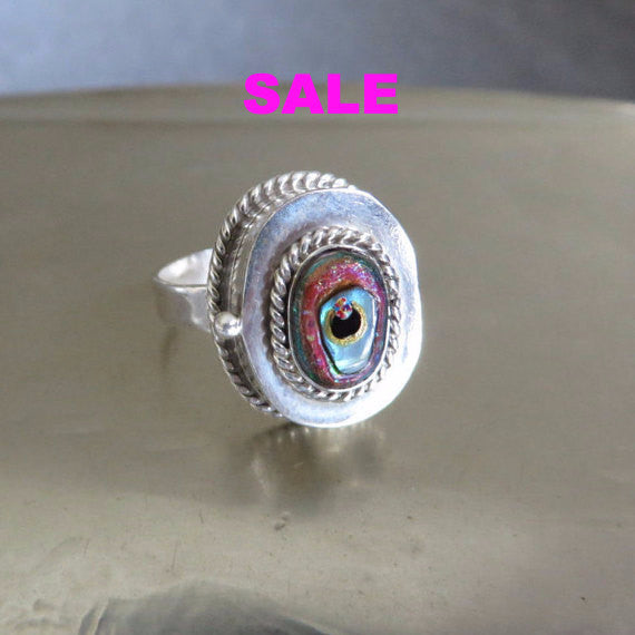 Alison Brown Vintage 925 Sterling Poison Ring with Hand Painted Evil Eye