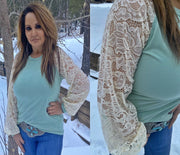 Mint Lace Sleeve Top