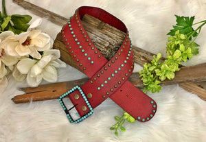Wide Red Turquoise Leather Belt