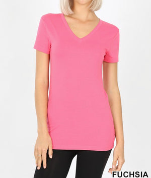 Fuchsia V Neck Top