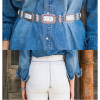 White Link Concho Belt
