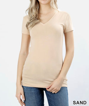 Sand Basic V Neck Top
