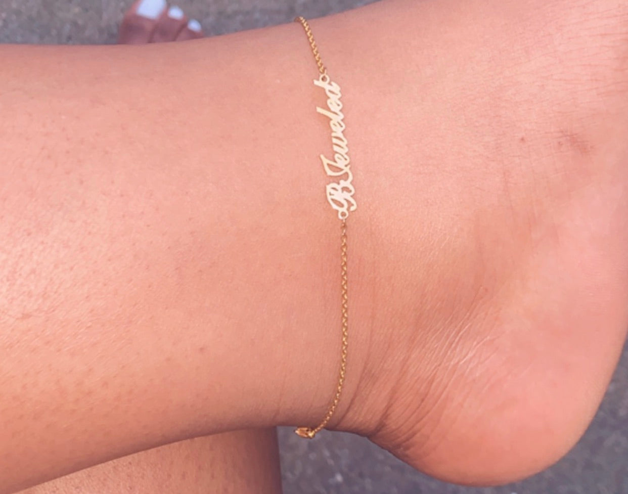 Signature B Jeweled Anklet