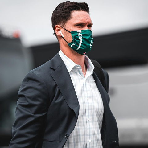 Chris Hogan wearing FOCO New York Jets face cover