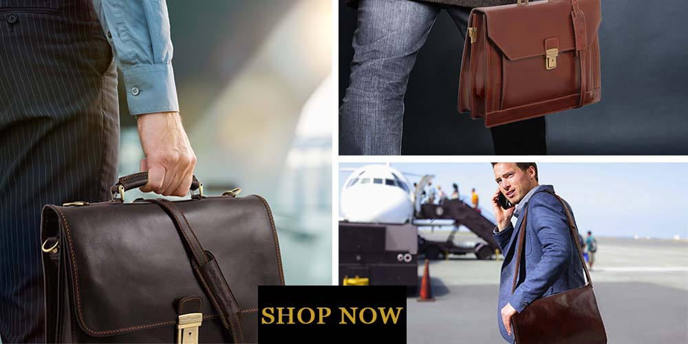 Collage With 3 Men Posing With 3 Different Types Of Mens Leather Briefcase