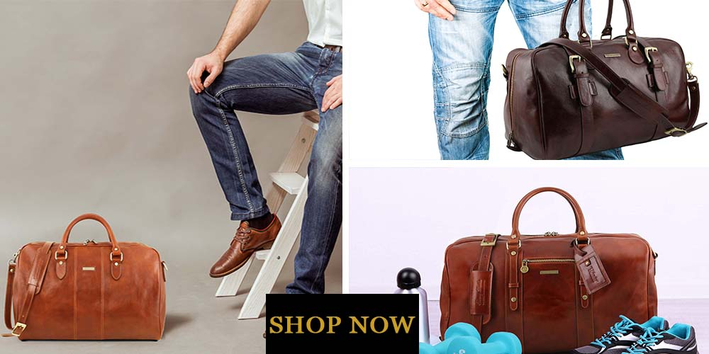 2 Men Posing And 1 Additional Picture Of Travel Bags For Men