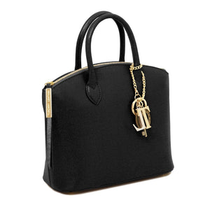 Side View Of The Small Black Tote Leather Handbag