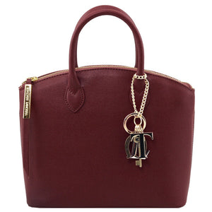 Front View Of The Small Bordeaux Tote Leather Handbag