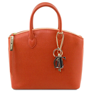 Front View Of The Small Brandy Tote Leather Handbag
