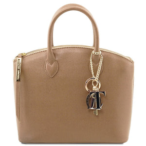 Front View Of The Small Caramel Tote Leather Handbag