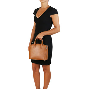 Women Holding The Small Cognac Tote Leather Handbag