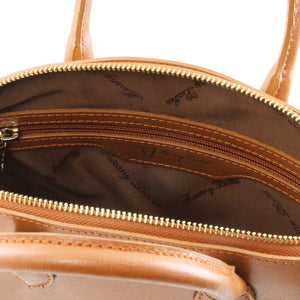 Internal View of The Cognac Adorable Tote Leather Handbag