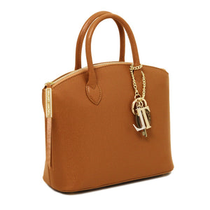 Angle View Of The Cognac Adorable Tote Leather Handbag
