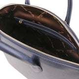 Internal Zip Pocket View Of The Small Dark Blue Tote Leather Handbag