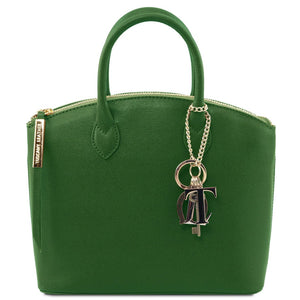 Front View Of The Green Adorable Tote Leather Handbag