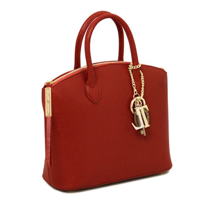 Side View Of The Small Red Tote Leather Handbag