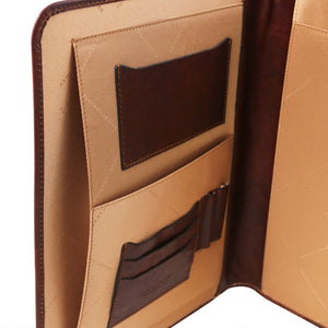 Internal Pocket View Of The Exquisite Brown Leather Compendium