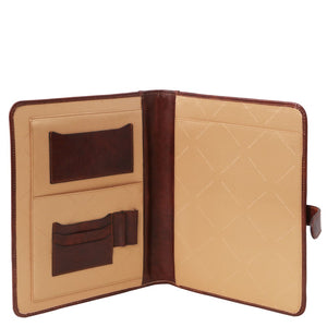 Internal View Of The Brown Document Case Jacquard Lining
